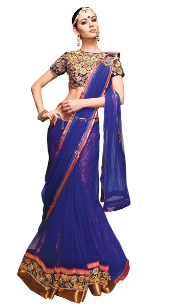 Designer Blue Net Heavy Embroidered Saree With Semi Stitched Blouse SC8011