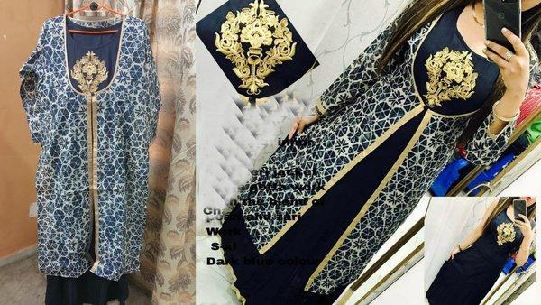 Designer Selfie Blue Double Layer Cotton Long Kurta Kurti Dress NV957