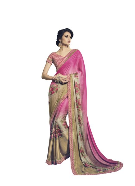 Pink Double Print Chiffon Saree With Lacer Border SC21205