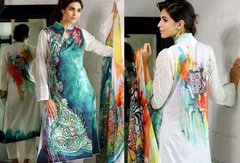 Designer Pakistani Replica Off White French Crepe Printed Dress Material SUR7
