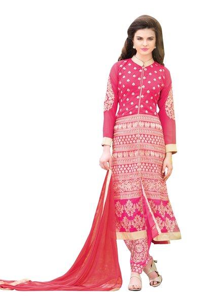 Pink Georgette Semi Stitch Dress Material SC302