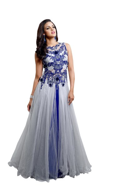 Designer Semi Stitched Western Dress Grey and Blue Net Long Gown SC1042