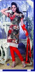 Spun Cotton Multi Orange Lacer Salwar Kameez Churidar Dress Meterial SC 1063D