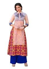 Designer Peach Orange Rayon Cotton Kora Silk Layered Embroidered Long Kurta Dress Size XL SCKSD203