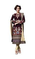 Designer Micro Velvet Deep Maroon Cream Salwar Kameez Dress Material SC7275