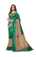 Designer Green Bhagalpuri Cotton Silk Saree SC3031
