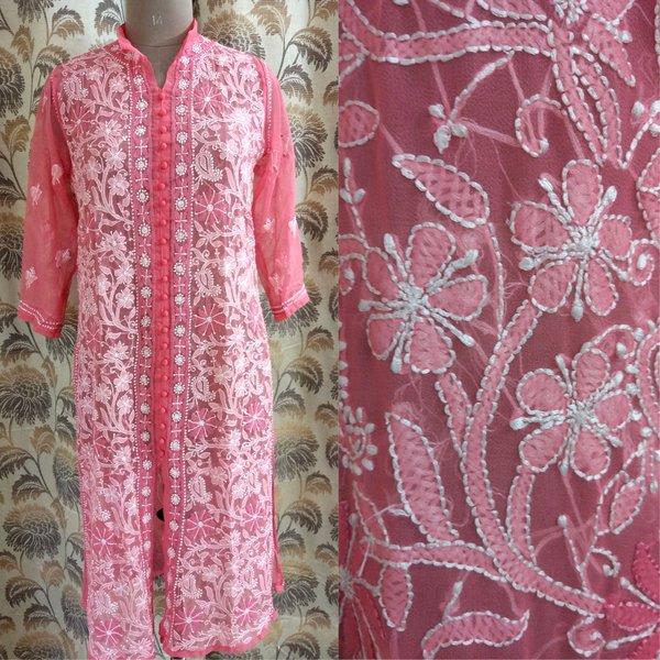 Designer Georgette Carrot Pink Chikankari Long Kurti Kurta SC901 SZ 42