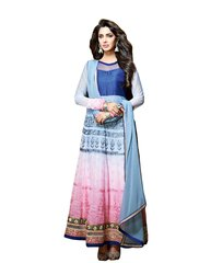 Designer Semi Stitched Blue Georgette Long Anarkali Dress Material SC2604