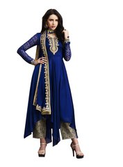 Designer Navy Blue Silk Georgette Semi Stitched Dress Material SC3070