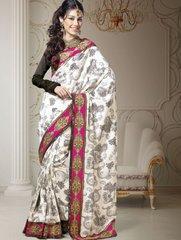 Designer White Dupion Embroidered Saree SC1517