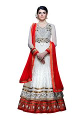 Designer Long White Soft Net  Anarkali SC310
