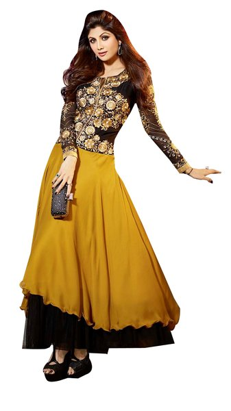 Shilpa Shetty Exclusive Yellow Anarkali SC6014