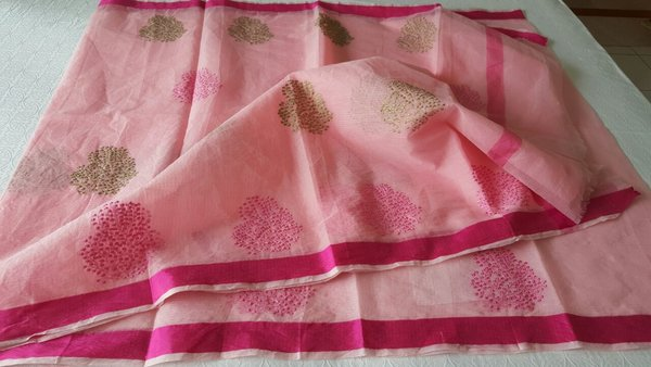 Designer Pink Kota Cotton Embroidered Saree KCS79