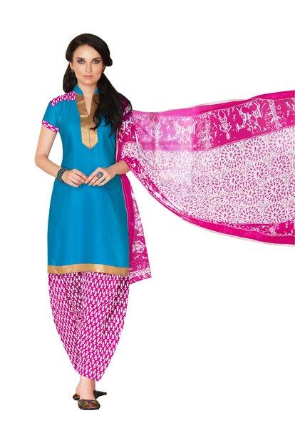 Sky Blue Cotton Patiala Printed Dress Material
