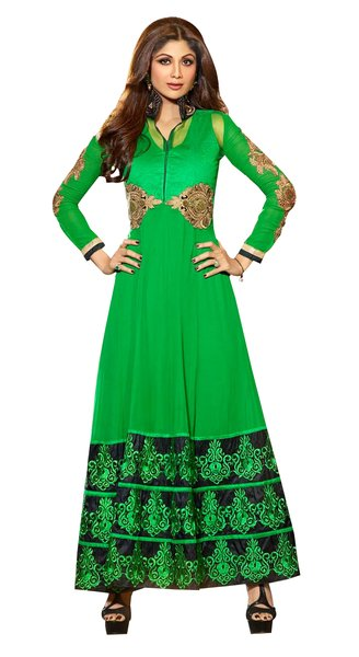 Shilpa Shetty Exclusive Green Anarkali SC6012