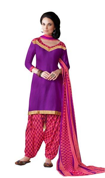 Purple Cotton Patiala Printed Dress Material