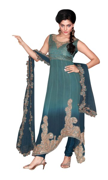 Anvi Creations Blue Pure Georgette Fusion Cut Churidar Dress Material
