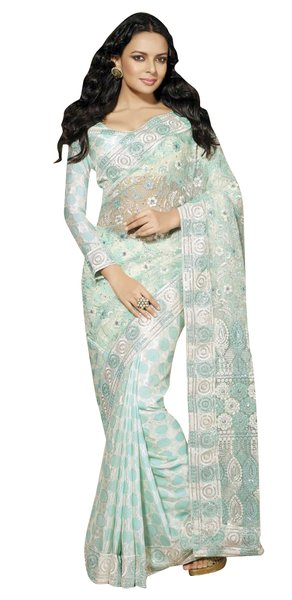 Designer Blue Schiffli Embroidered Net saree SC9015B