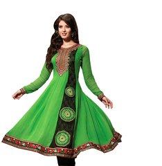 Green Black Pure Georgette Embroidered Salwar kameez Churidar Dress Material SC6126