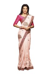 Designer Pinkish Peach Embroidered Saree with Raw Silk Blouse Fabric SC410
