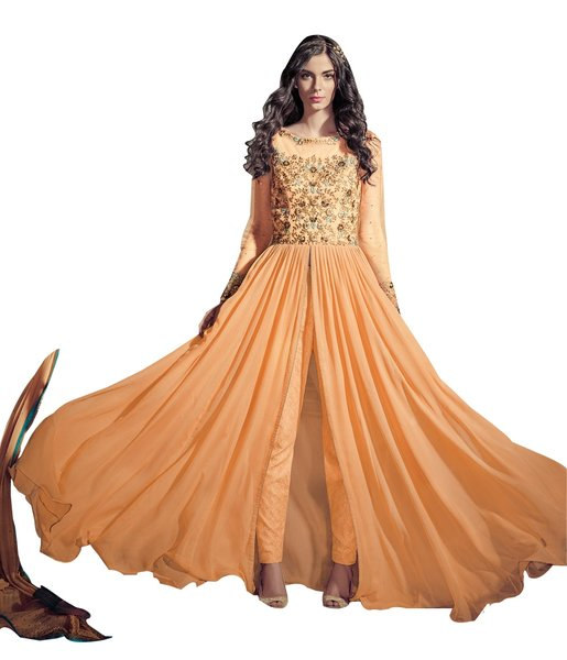 Designer Orange Georgette Long Semi stitch Anarkali Partywear Dress material SC4001