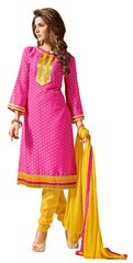 Pink Pure Jacquard Georgette Straight Cut Dress Material