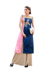 Designer Rayon Cotton Blue Embroidered Long Kurta Kurti Size XL SCKS107