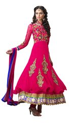 Anvi Creations Hot Pink Net and Cottton Silk Anarkali Dress Material