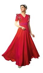 Designer Ready to Wear Red Slub Satin Silk Embroidered Long Gown Dress Size 42 A416