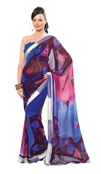 Printed With Lacer Striped Blue Pink Georgette Saree SC907