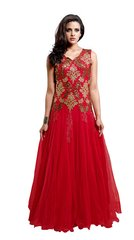 Designer Semi Stitched Western Dress Red Net Long Gown SC1043