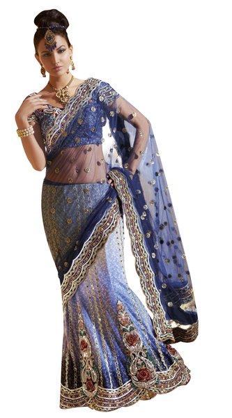 Net Brocade Blue Embroidered Lehenga Saree Sari SC6108