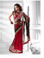 Designer Black Net Embroidered Heavy Saree SC2129