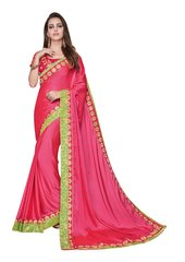 Designer Two Tone Pink Silk Border Saree with Semi Stitched Blouse