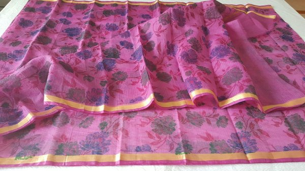 Designer Purple Gold Border Kota Cotton Printed Saree KCS73