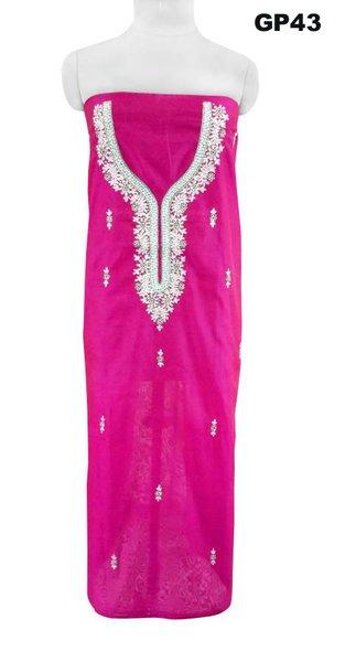 Jaipuri Kundan Hand Work Purple Chanderi Silk Kurti Kurta Fabric GP43