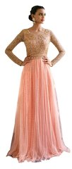 Designer Semi Stitched Peach Fusion Style Net Dress Material