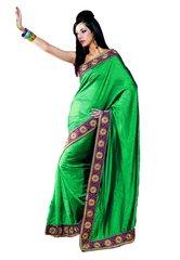 Green Crepe Silk Indian Saree SC3325