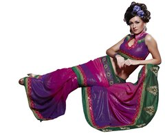 Designer Multi Shimmer Georgette Embroidered saree SC122