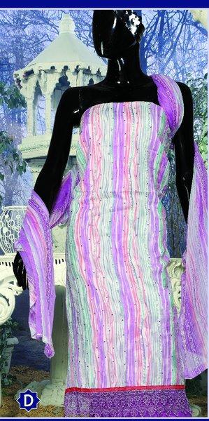 Spun Cotton Purple Lacer Salwar Kameez Churidar Dress Meterial SC 1057D