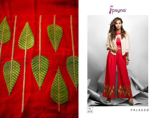 Designer Red Linen Cotton Embroidered Palazo Pants Free Size P710