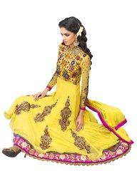 Anvi Creations Yellow Net and Cottton Silk Anarkali Dress Material