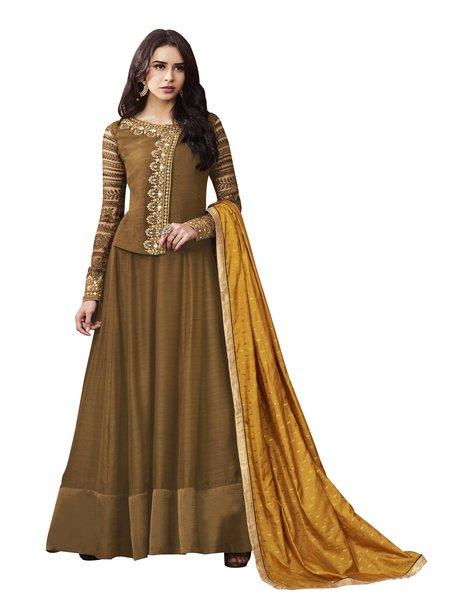 Designer Brown Satin Semi Stitched Dress Material SC3072
