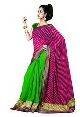 Embroidered Pink Green Crush Georegtte Saree SC3309
