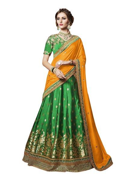 Designer Embroidered Heavy Green Woven Brocade Lehenga Saree SC4084