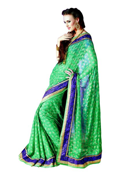 Green Satin stripe Chiffon Indian Saree SC3316