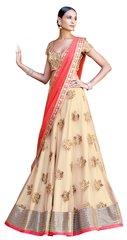 Beige Net Heavy Choli Dupatta Fabric Only SC5047