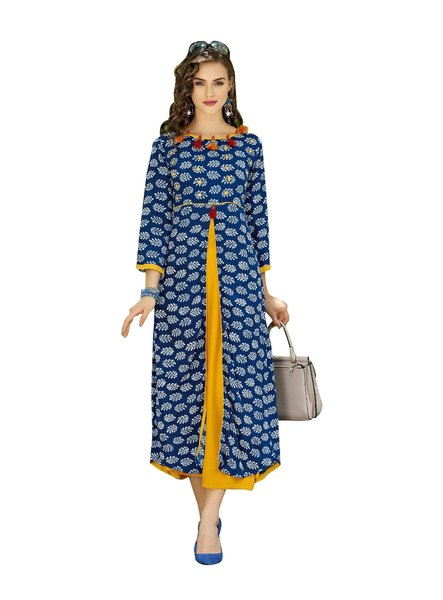 Designer Blue Cotton Printed Long Kurti Kurta Dress Style Size 42 XL SC1007