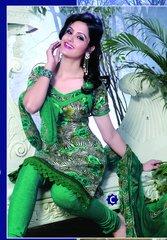 Spun Cotton Green Lacer Salwar Kameez Churidar Dress Meterial SC 1052C