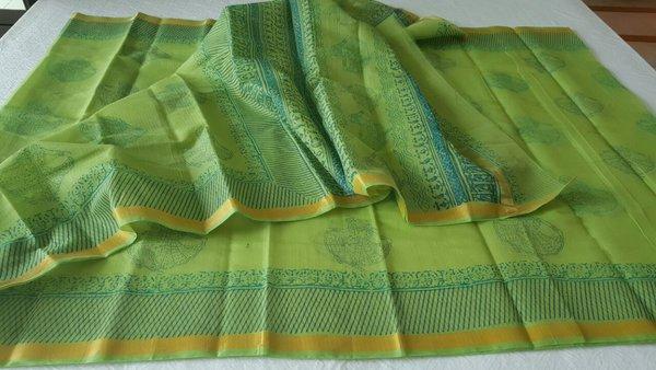Designer Light Green Gold Border Kota Cotton Printed Saree KCS80